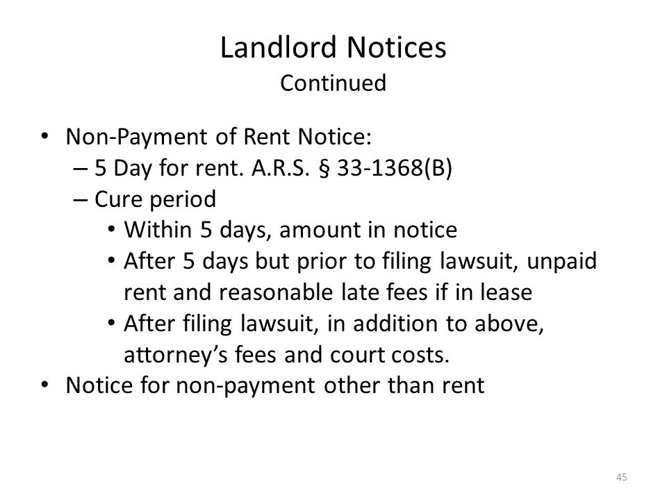 Landlord Notices Continued
