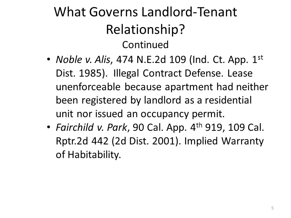 landlord and tenant relationship act