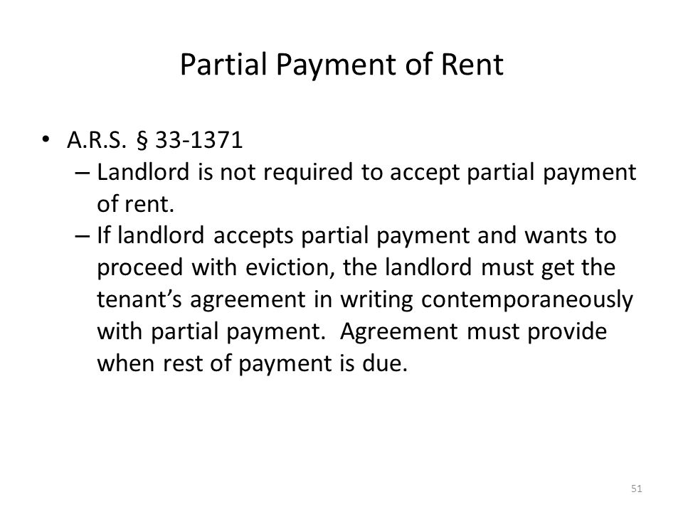 Partial Payment of Rent