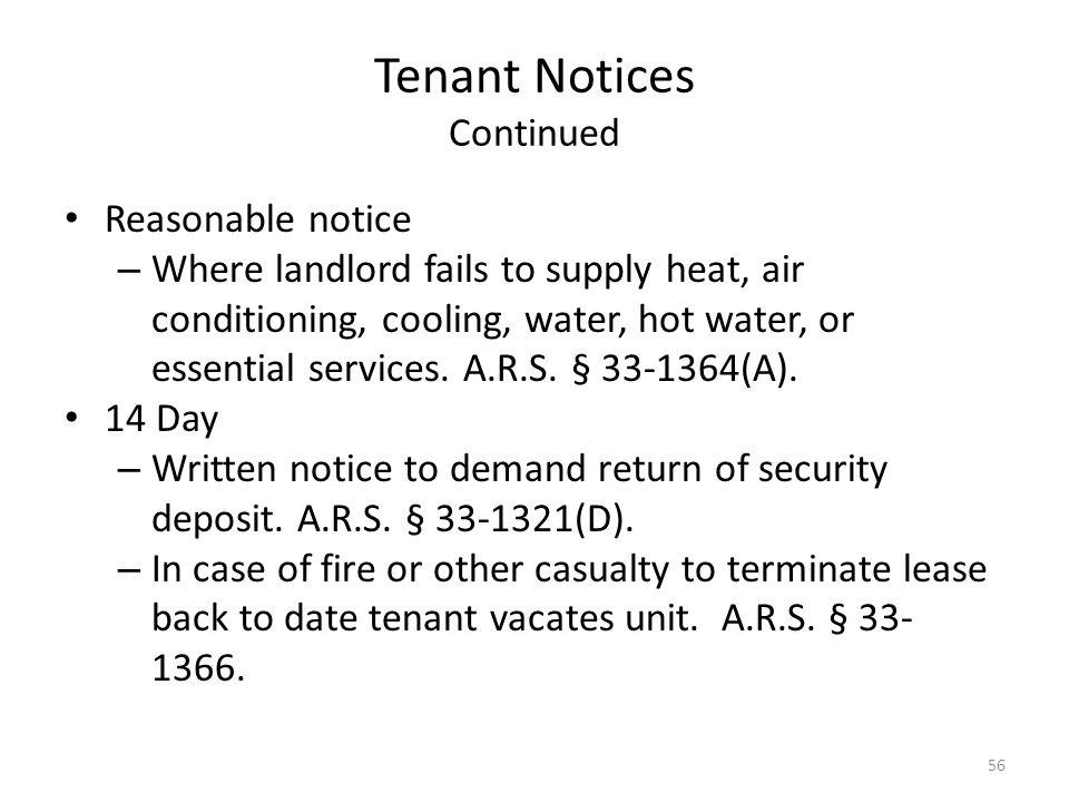 Tenant Notices Continued