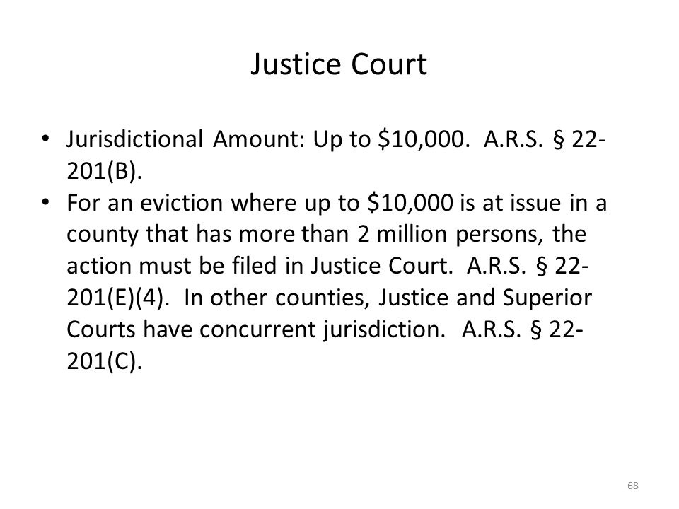 Justice Court Jurisdictional Amount: Up to $10,000. A.R.S. § 22-201(B).