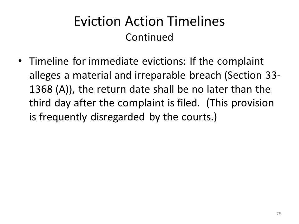 Eviction Action Timelines Continued