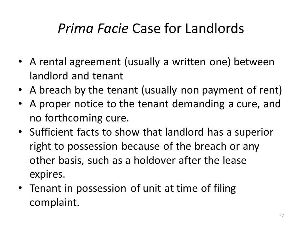 Prima Facie Case for Landlords