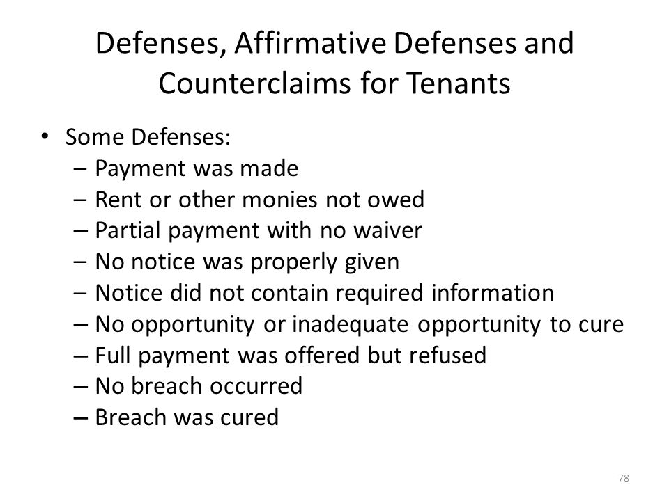 Defenses, Affirmative Defenses and Counterclaims for Tenants