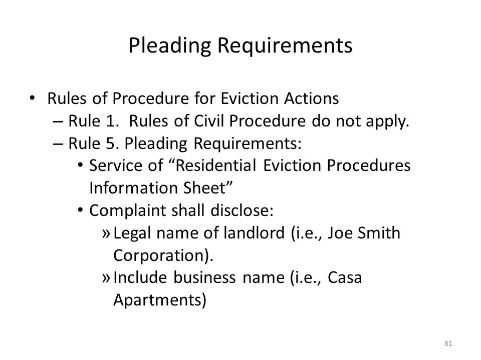 Pleading Requirements