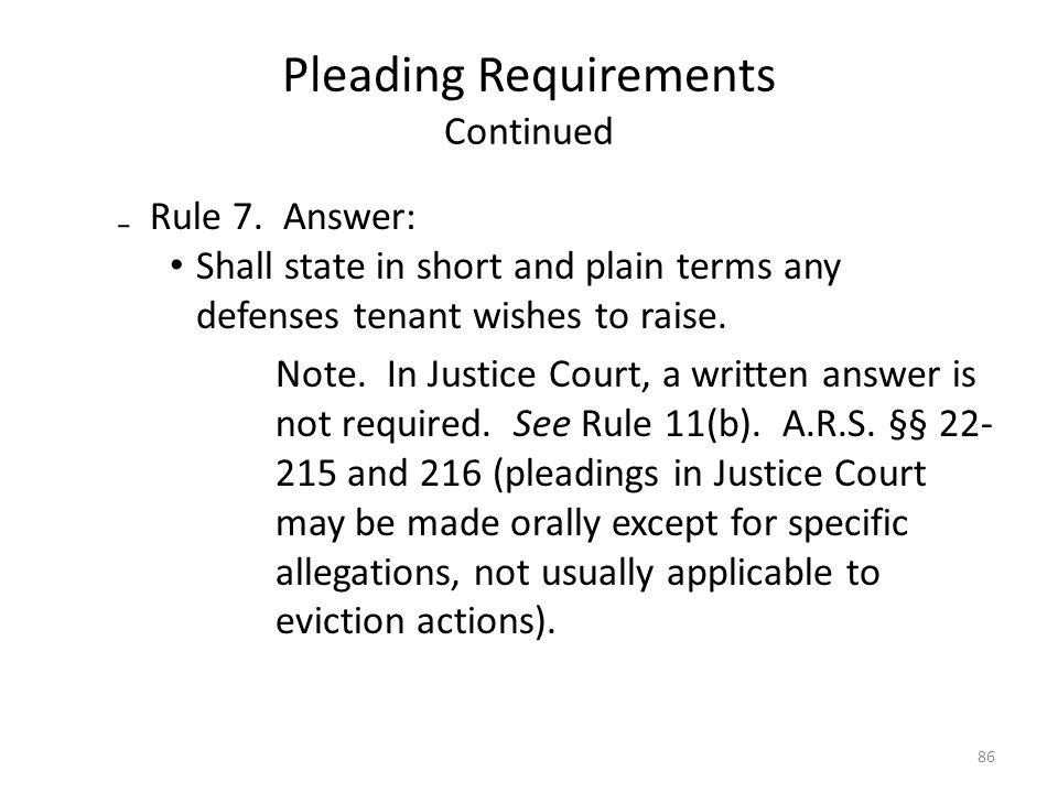 Pleading Requirements Continued