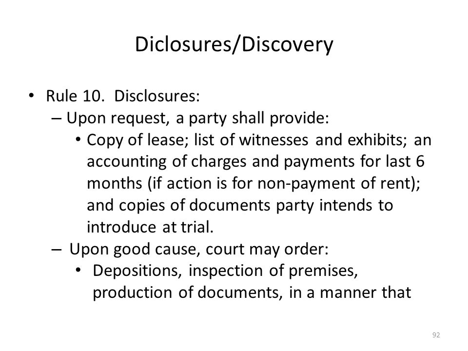 Diclosures/Discovery