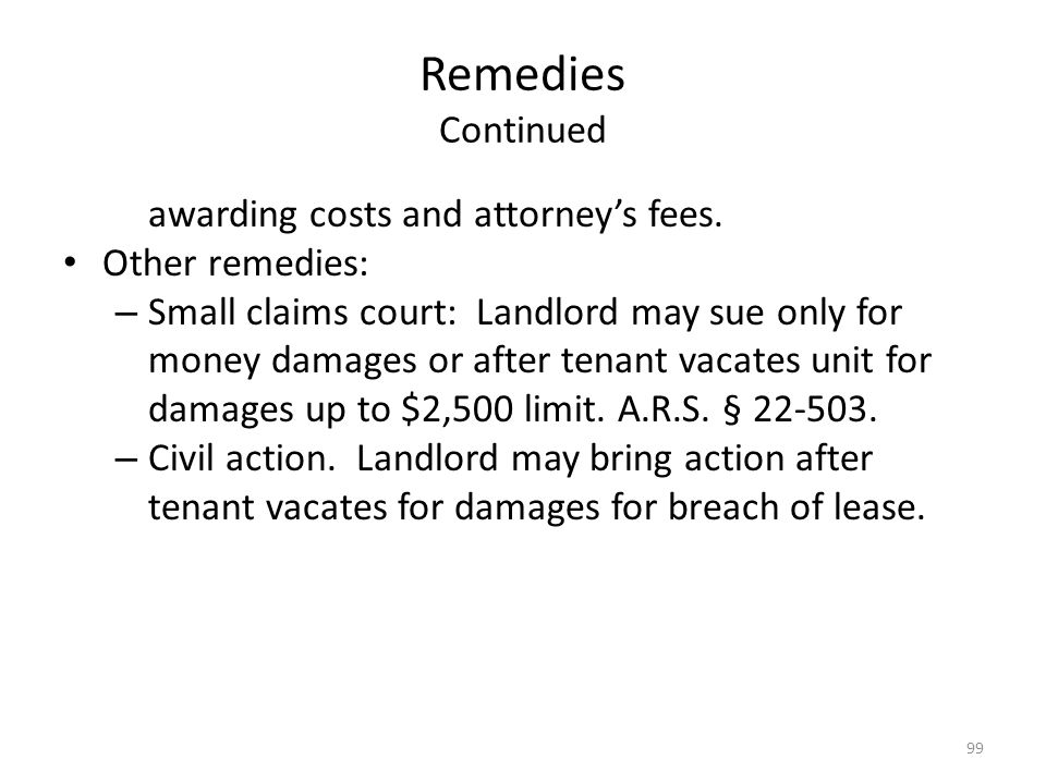 Remedies Continued awarding costs and attorney's fees. Other remedies: