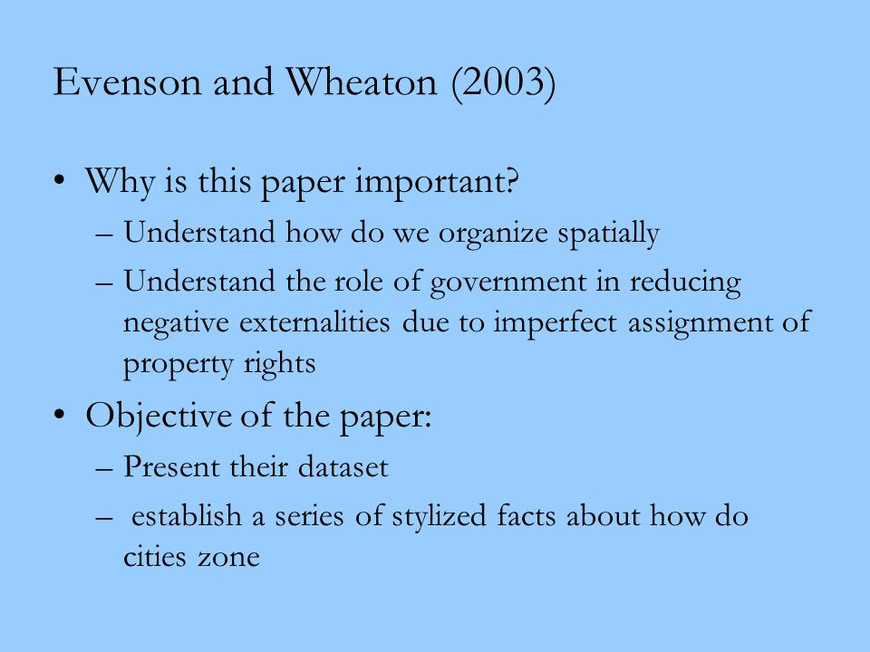 Evenson and Wheaton (2003) Why is this paper important