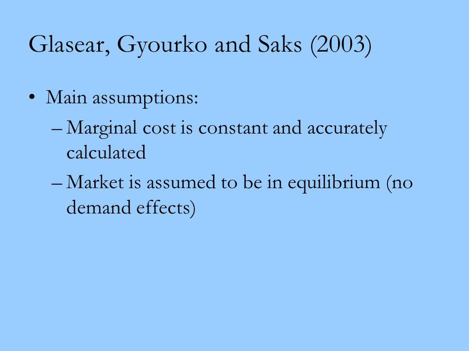 Glasear, Gyourko and Saks (2003)