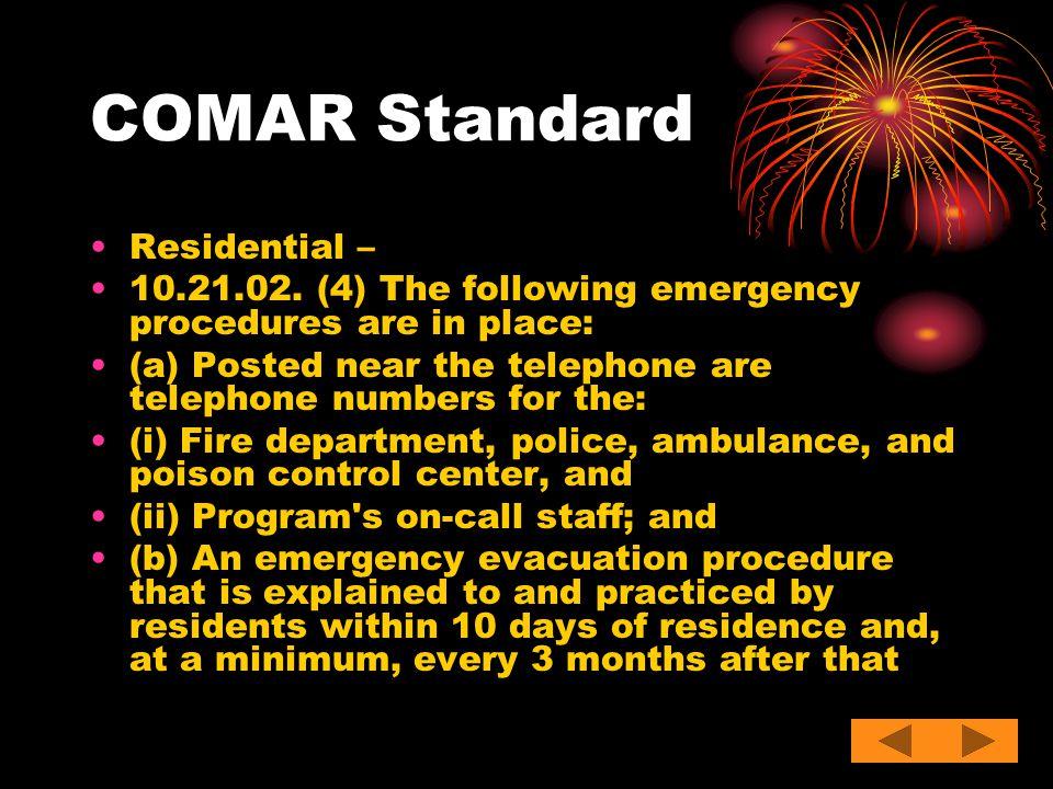 COMAR Standard Residential –