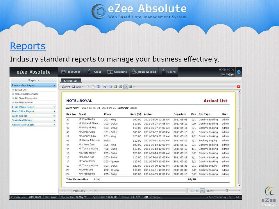 Reports Industry standard reports to manage your business effectively.