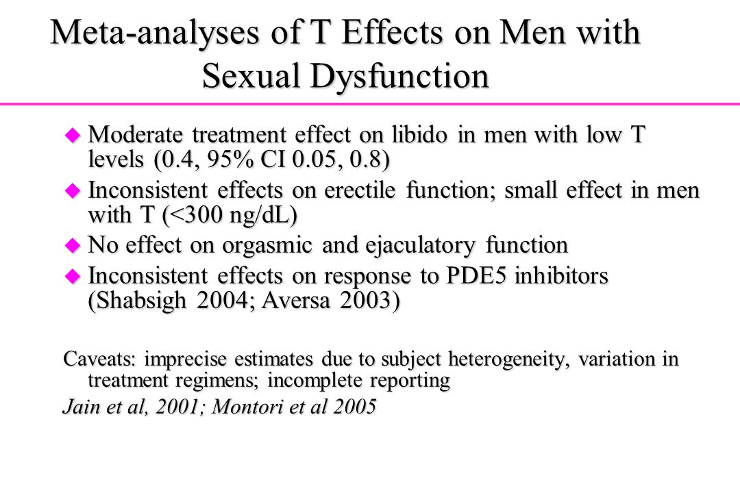 Meta-analyses of T Effects on Men with Sexual Dysfunction