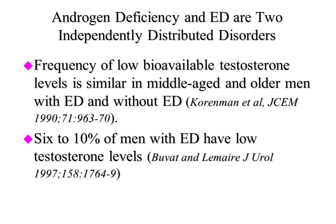 Androgen Deficiency and ED are Two Independently Distributed Disorders
