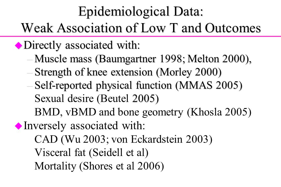 Epidemiological Data: Weak Association of Low T and Outcomes