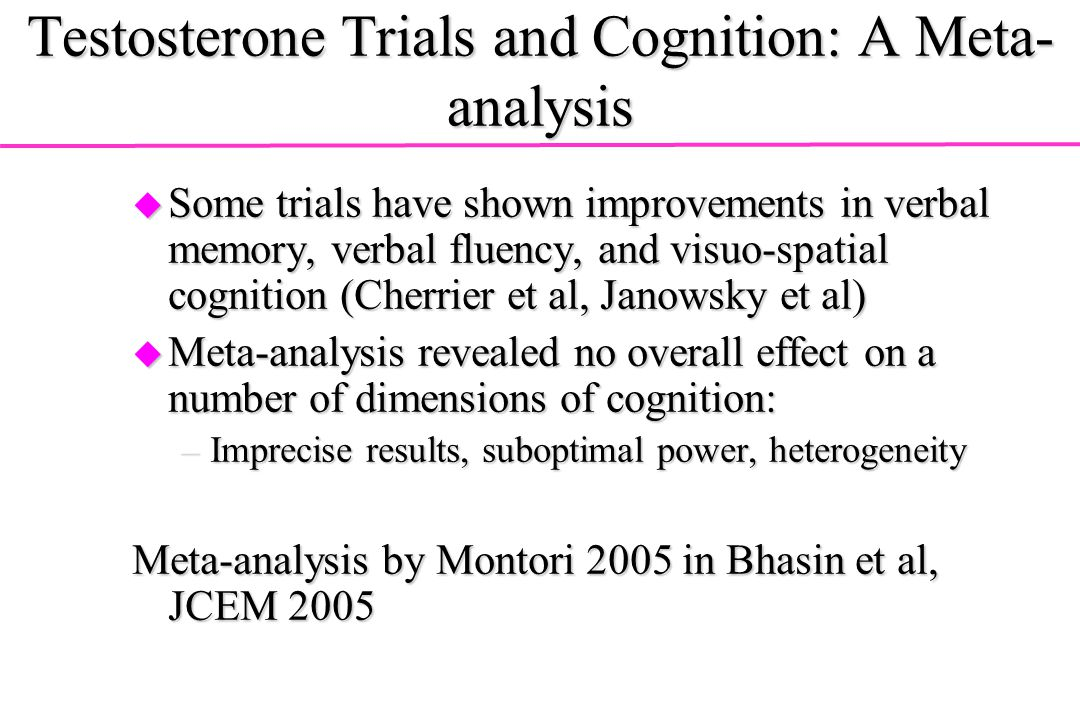 Testosterone Trials and Cognition: A Meta-analysis