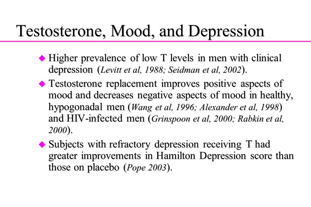 Testosterone, Mood, and Depression