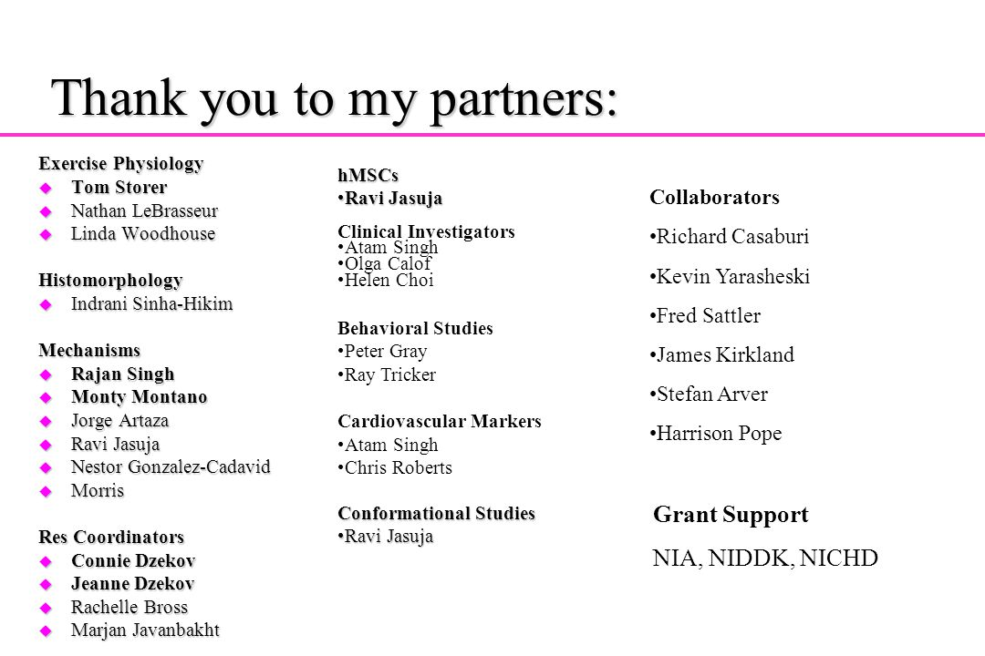 Thank you to my partners: