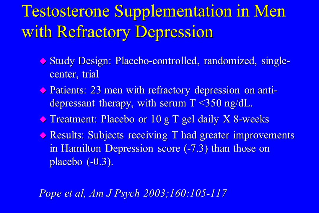 Testosterone Supplementation in Men with Refractory Depression
