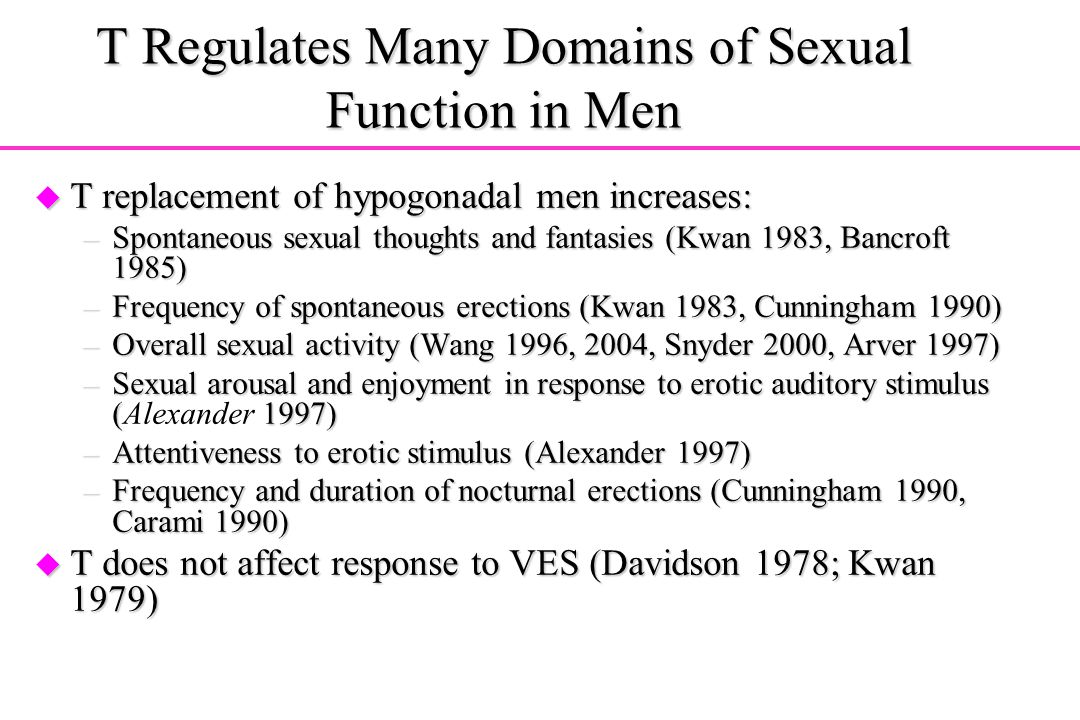 T Regulates Many Domains of Sexual Function in Men