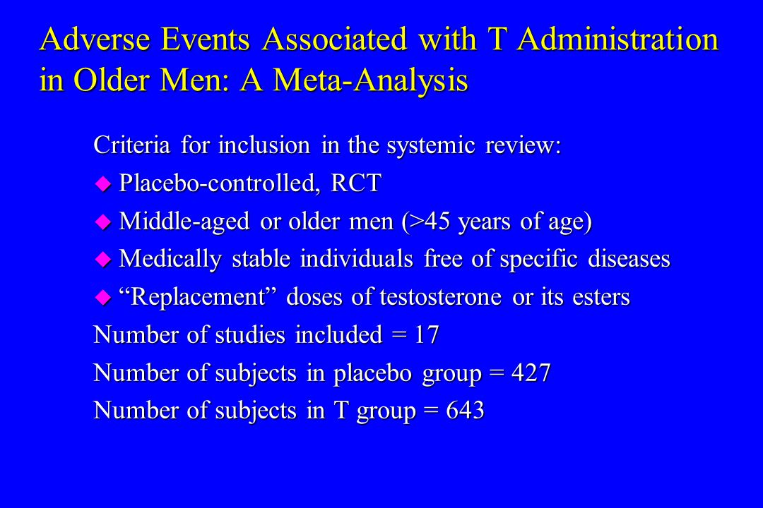 Adverse Events Associated with T Administration in Older Men: A Meta-Analysis