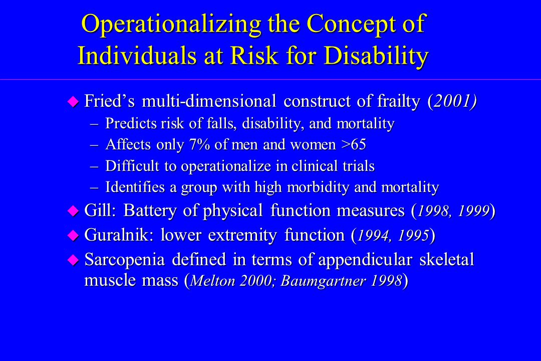 Operationalizing the Concept of Individuals at Risk for Disability