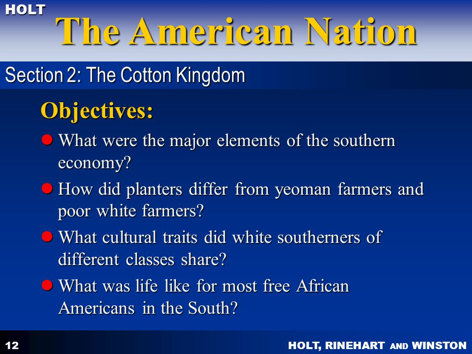 Objectives: Section 2: The Cotton Kingdom