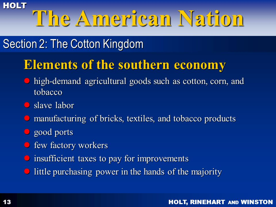 Elements of the southern economy