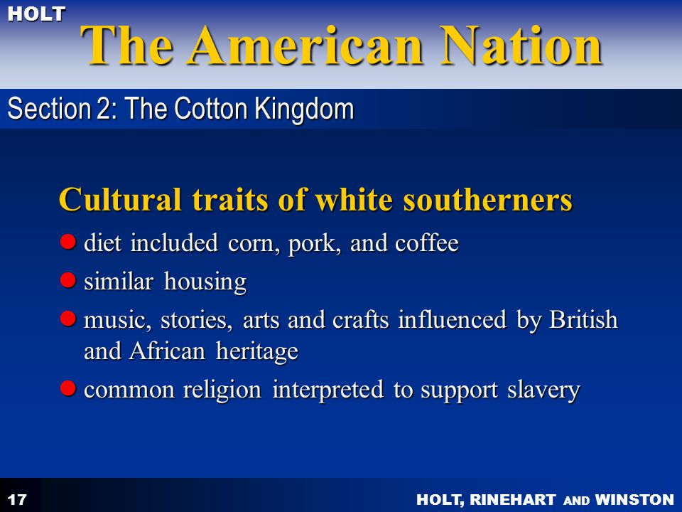 Cultural traits of white southerners