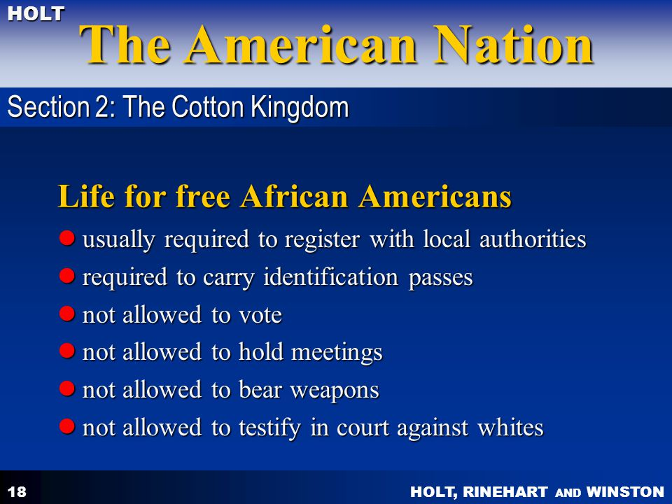 Life for free African Americans