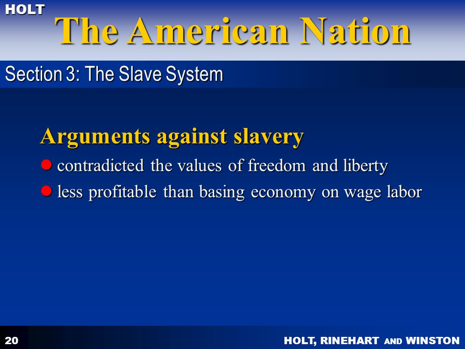Arguments against slavery
