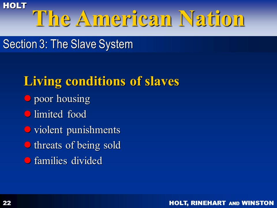 Living conditions of slaves