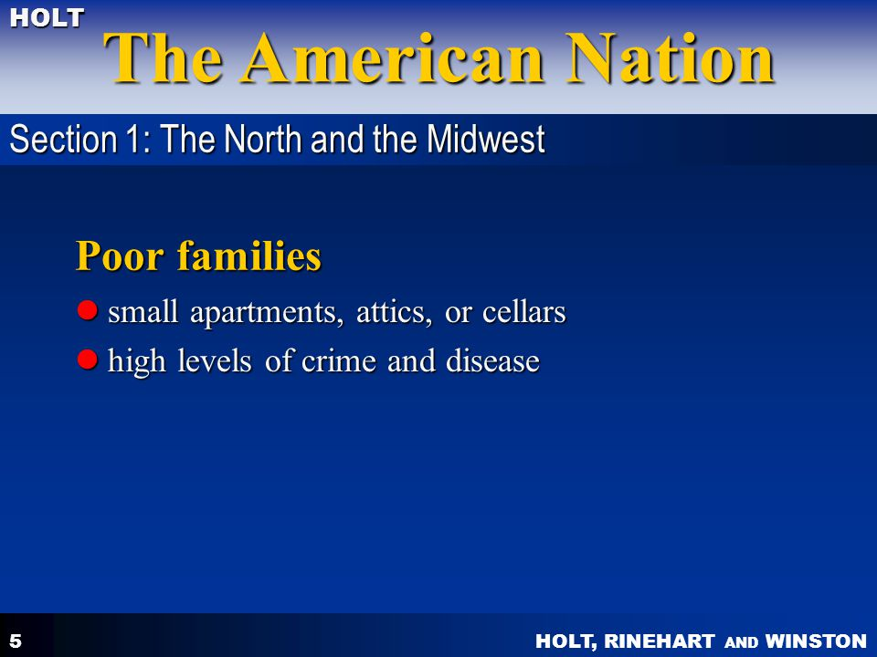 Poor families Section 1: The North and the Midwest