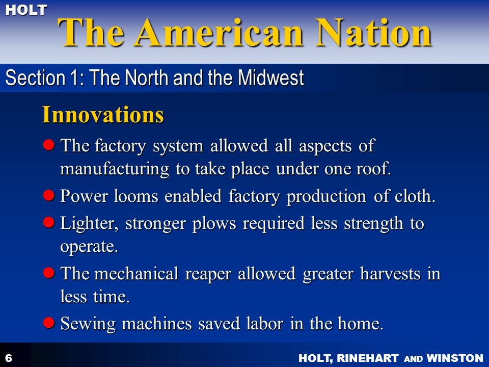 Innovations Section 1: The North and the Midwest