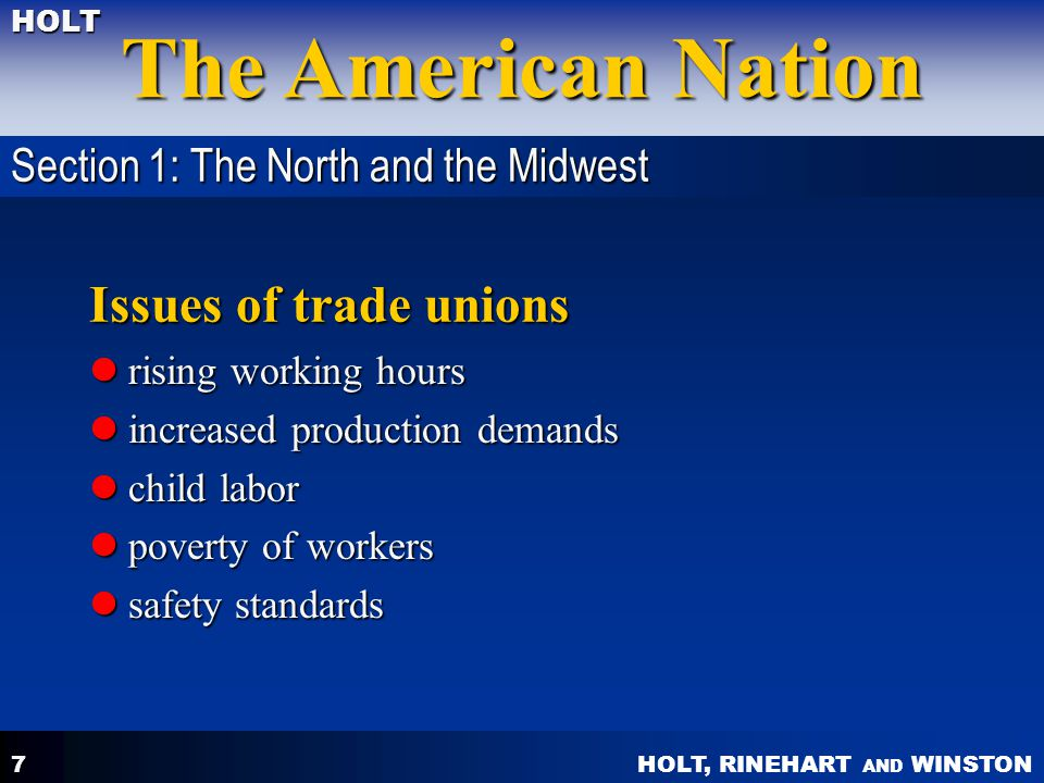 Issues of trade unions Section 1: The North and the Midwest