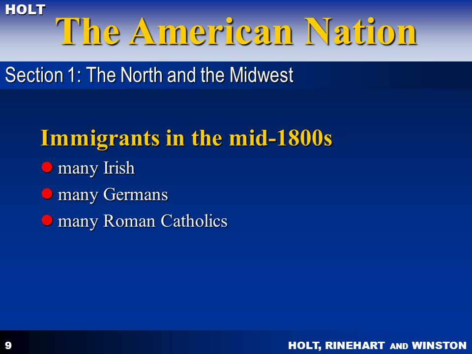 Immigrants in the mid-1800s