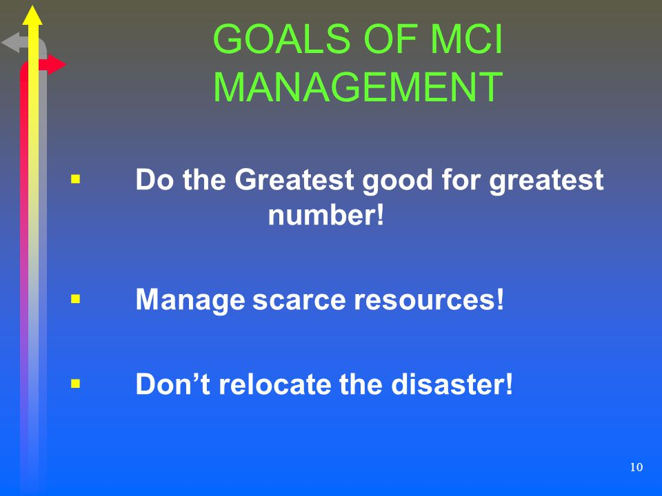 GOALS OF MCI MANAGEMENT