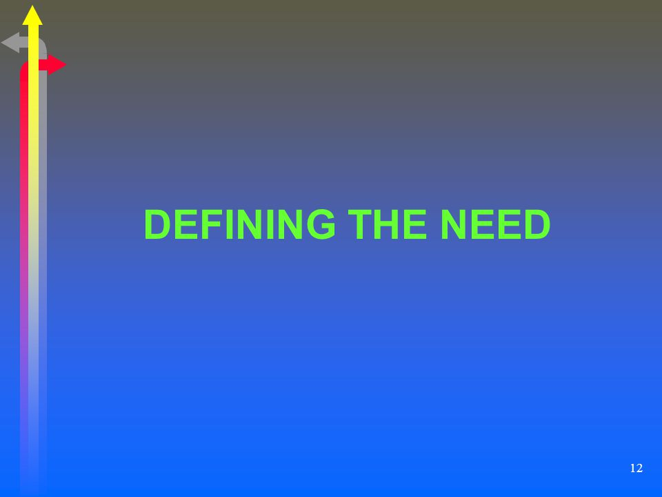 DEFINING THE NEED