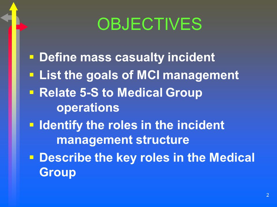 OBJECTIVES Define mass casualty incident