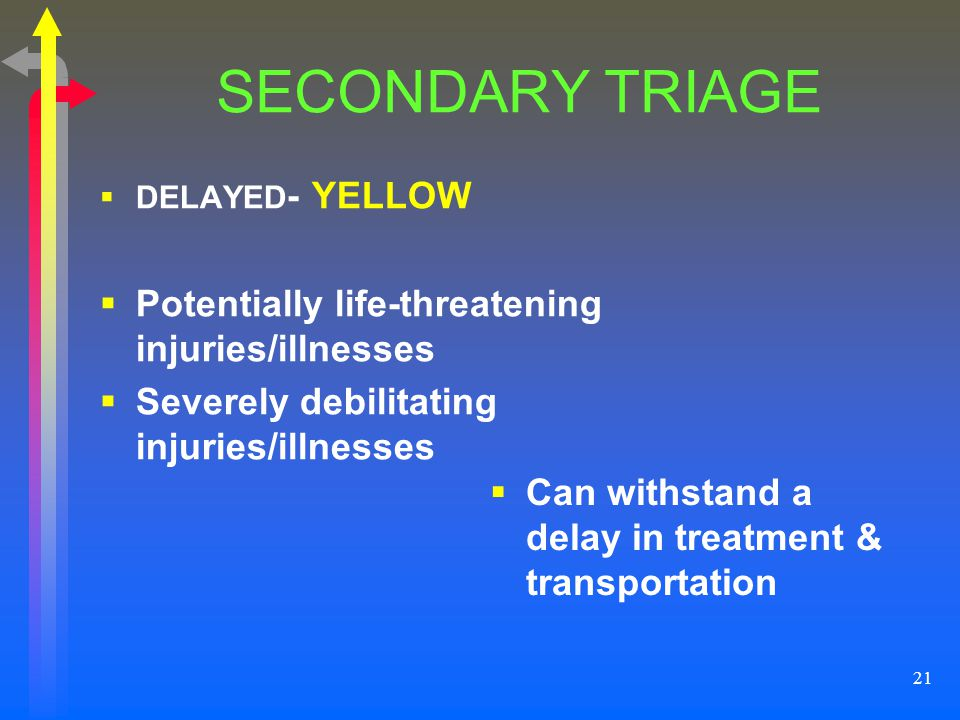 SECONDARY TRIAGE Potentially life-threatening injuries/illnesses