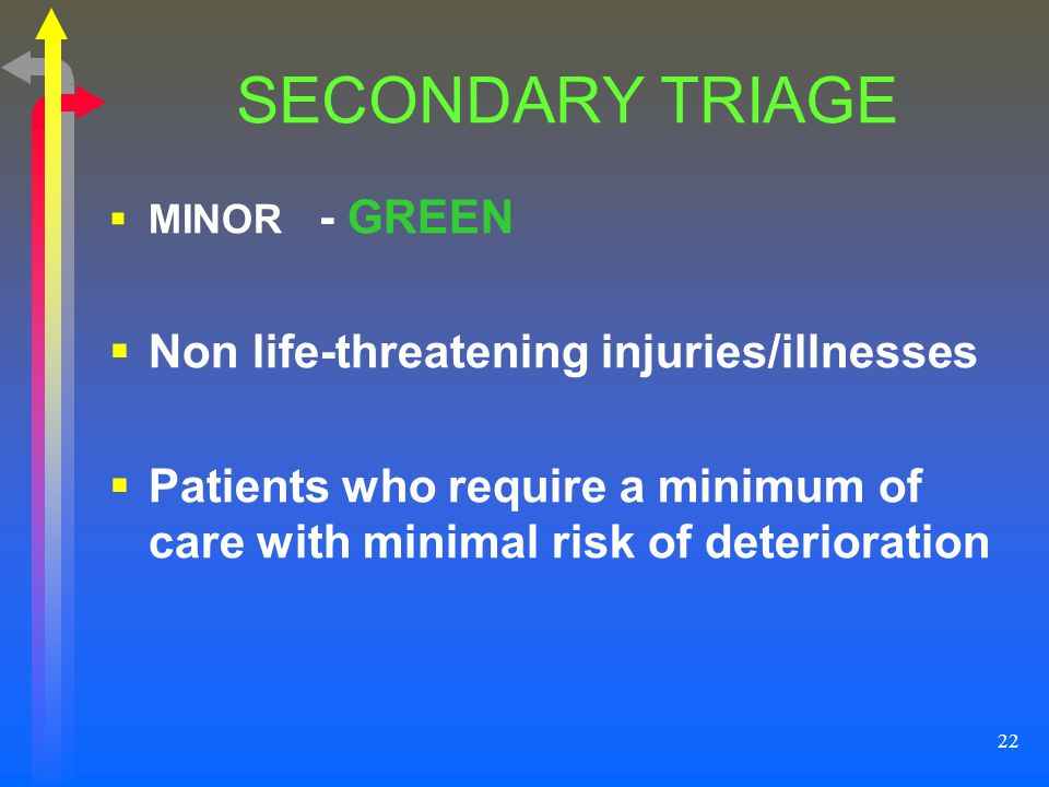 SECONDARY TRIAGE Non life-threatening injuries/illnesses