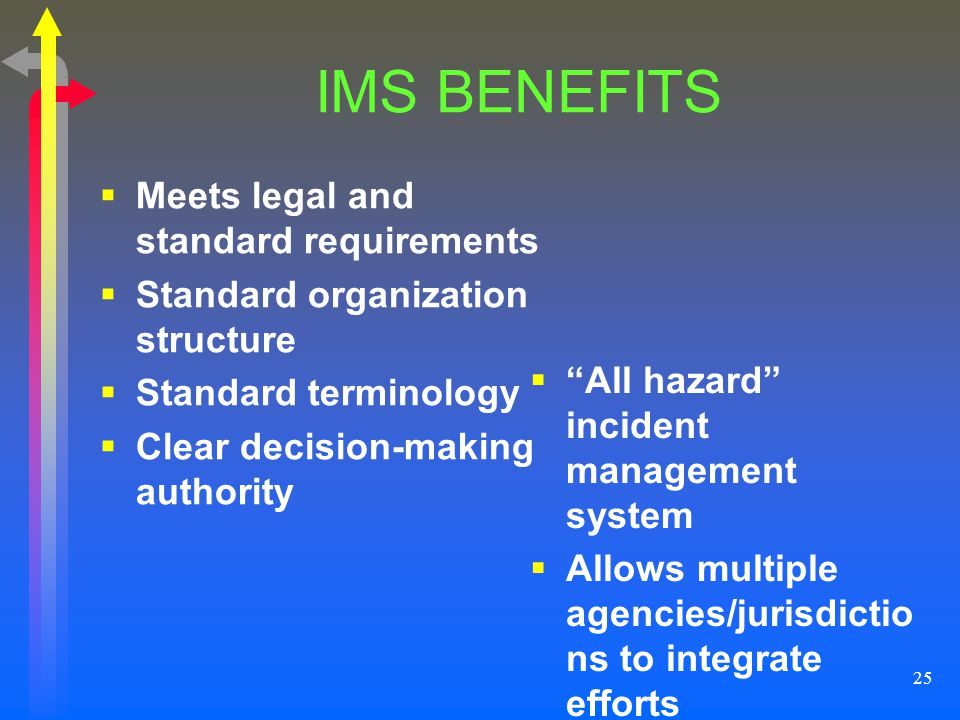 IMS BENEFITS Meets legal and standard requirements