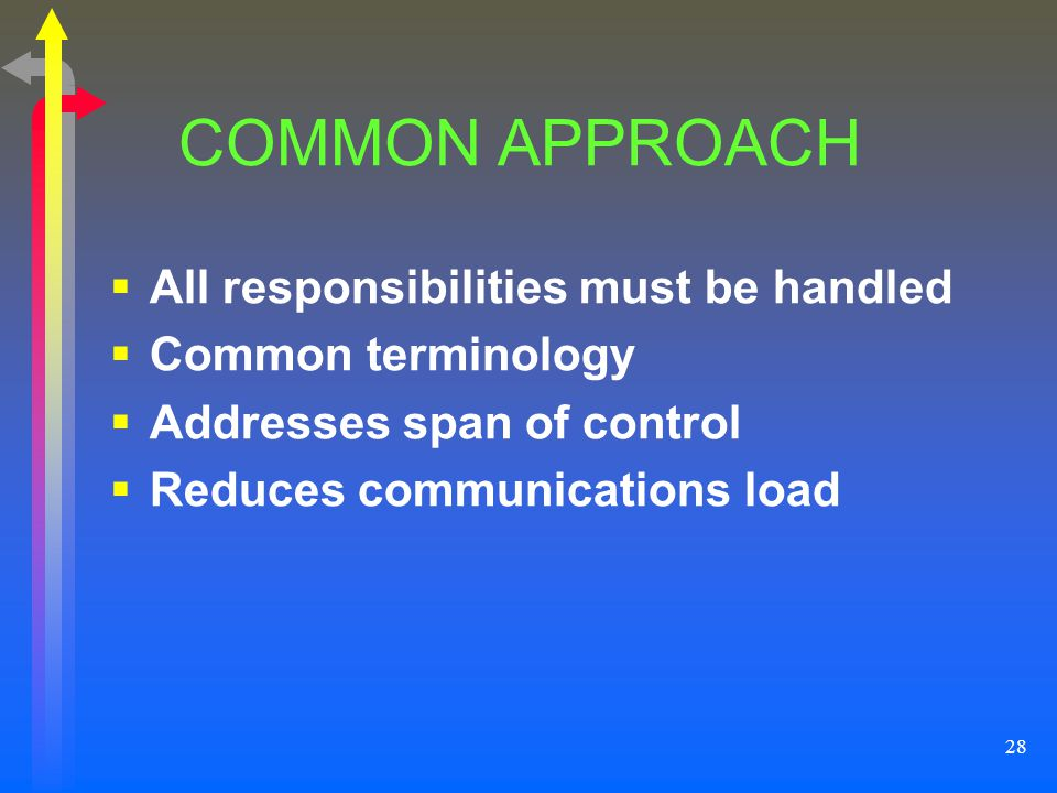COMMON APPROACH All responsibilities must be handled