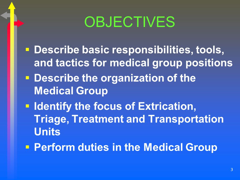 OBJECTIVES Describe basic responsibilities, tools, and tactics for medical group positions. Describe the organization of the Medical Group.