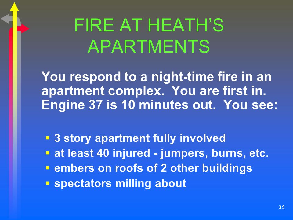 FIRE AT HEATH'S APARTMENTS
