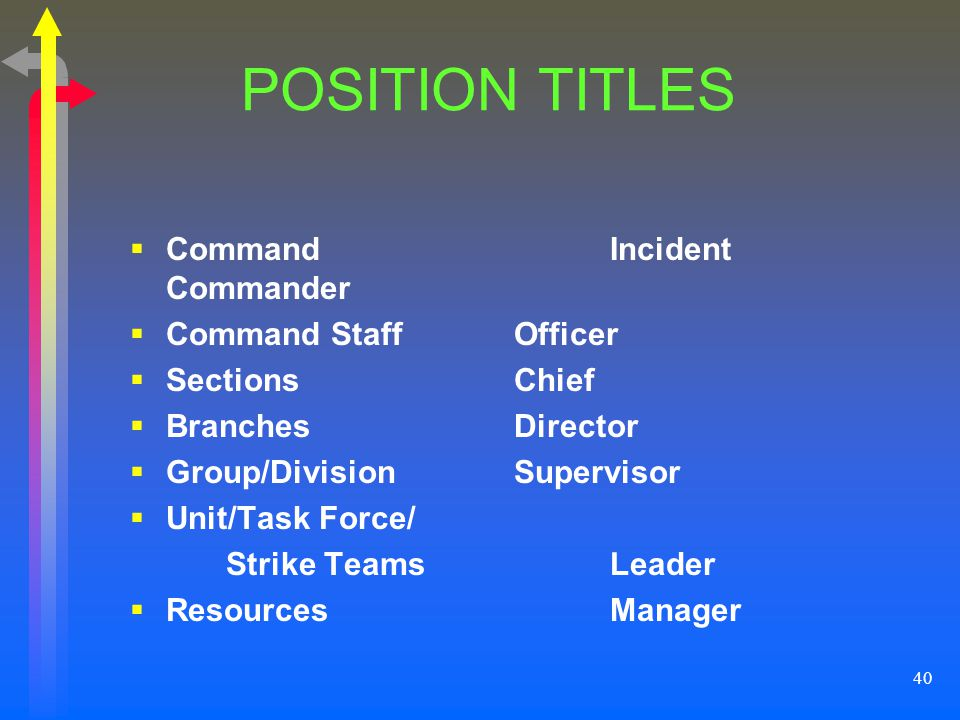 POSITION TITLES Command Incident Commander Command Staff Officer