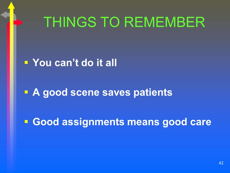 THINGS TO REMEMBER You can't do it all A good scene saves patients