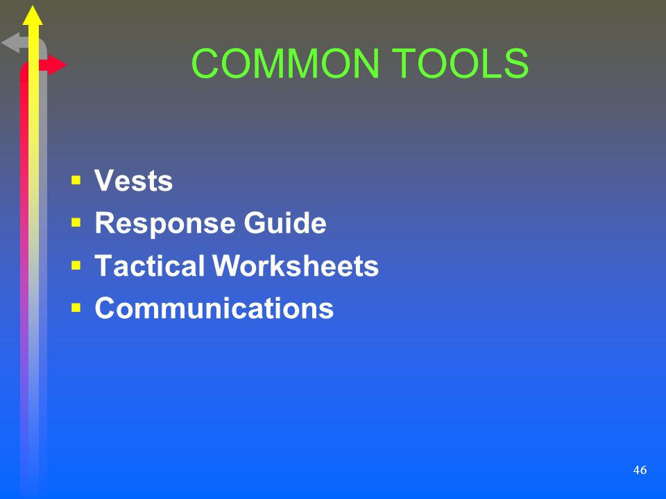COMMON TOOLS Vests Response Guide Tactical Worksheets Communications