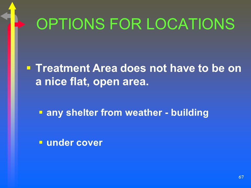 OPTIONS FOR LOCATIONS Treatment Area does not have to be on a nice flat, open area. any shelter from weather - building.