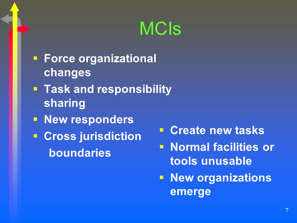 MCIs Force organizational changes Task and responsibility sharing